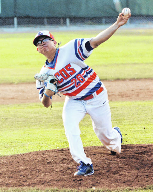 Alex Ayala delivers pitches for the Lima Locos during Thursday night's game at Simmons Field.