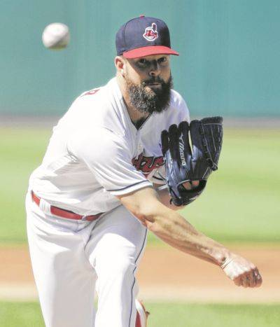 The Indians' Corey Kluber threw seven shutout innings Saturday against Oakland in Cleveland.