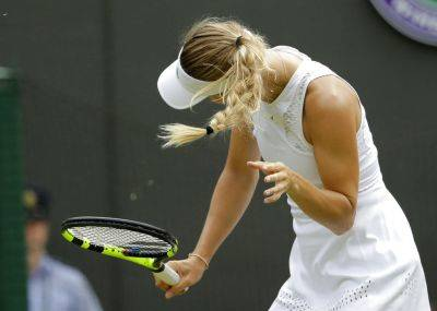 Caroline Wozniacki shakes her head to avoid the flying insects on court during her Wednesday women's singles match against Ekaterina Makarova at the Wimbledon Tennis Championships in London. AP photo