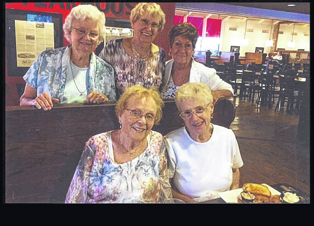 Members of the St. Gerard High School class of 1953 held their 65th class reunion recently at Lock Sixteen. Front row (left to right): Barbara (Pugh) Wilcox and Ruth (Gilmore) Weichart Back row (left to right): Rose (Holtz) Jackson, Carolyn (Copeland) McNamara and Peg (O'Connor) Cheney. Not pictured Toni (Backus) Grimm