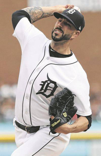 The Tigers' Mike Fiers allowed no hits, seven hits and three walks while striking out six in 6 1/3 innings Saturday night against Boston in Detroit.