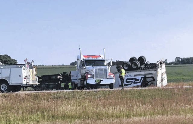 The eastbound lanes of U.S. 30, east of Van Wert, were shut down for several hours Wednesday after a semitrailer rolled over.