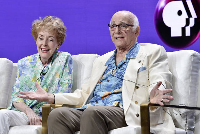 "Actors Gavin MacLeod, right, and Georgia Engel take part in a panel discussion on the PBS special ""Betty White: First Lady of Television"" during the 2018 Television Critics Association Summer Press Tour at the Beverly Hilton on Tuesday in Beverly Hills, Calif."