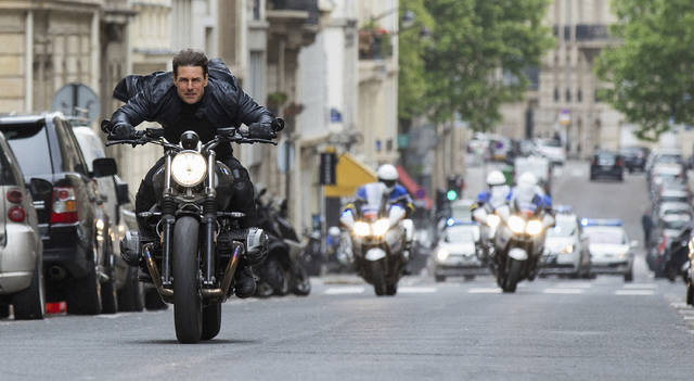 "FILE - This image released by Paramount Pictures shows Tom Cruise in a scene from ""Mission: Impossible - Fallout."" Tom Cruise has outrun Winnie-the-Pooh at the box office. ""Mission: Impossible -- Fallout"" topped ticket sales for the second straight weekend with an estimated $35 million despite newcomer ""Christopher Robin."" According to studio estimates Sunday, Aug. 5, 2018, the sixth ""Mission: Impossible"" installment has amassed $124 million in its first 10 days of release. (Chiabella James/Paramount Pictures and Skydance via AP, File)"