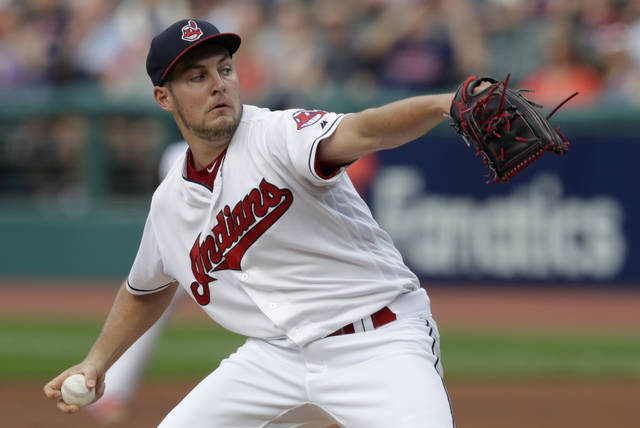 Cleveland Indians starting pitcher Trevor Bauer delivers in the first inning of a baseball game against the Minnesota Twins, Monday.