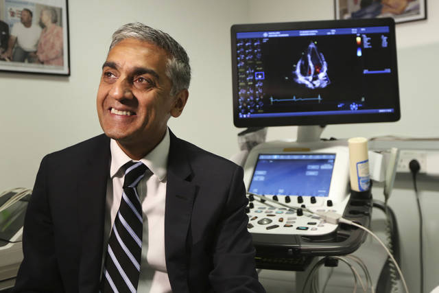 Dr. Sanjay Sharma, professor of cardiology at St. George's University of London, speaks during an interview on Wednesday about a study he led which found procedures that can help identify athletes who are at risk for heart-problems. He said the British soccer program will start re-checking players' hearts at ages 18, 20 and 25.