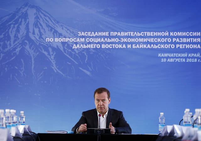 "Russian Prime Minister Dmitry Medvedev speaks during a meeting in Kamchatka Peninsula region, Russian Far East, Russia, Friday. Russia's prime minister sternly warned the United States on Friday against ramping up sanctions, saying that Moscow will retaliate with economic, political and unspecified ""other"" means."
