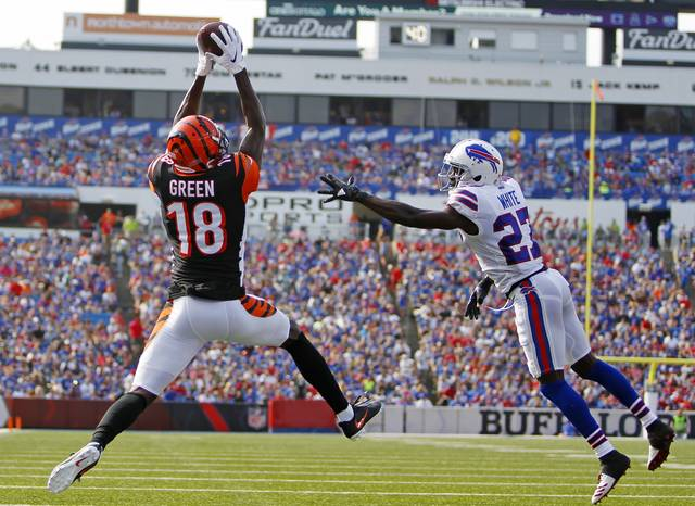 Cincinnati Bengals wide receiver A.J. Green (18) catches a pass for a touchdown in front of Buffalo Bills' Tre'Davious White (27) during the first half of a preseason NFL football game Sunday, Aug. 26, 2018, in Orchard Park, N.Y. (AP Photo/Jeffrey T. Barnes)