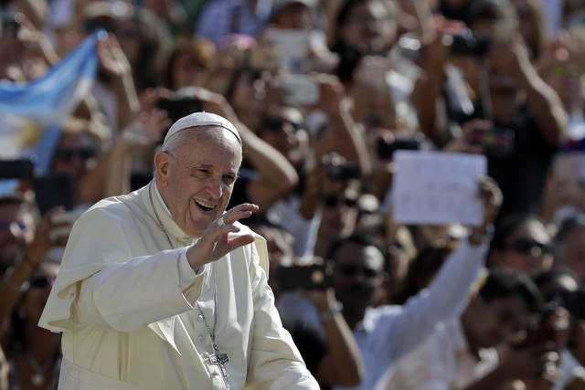 Pope Francis salutes as he arrives for his weekly general audience, at the Vatican, Wednesday, Aug. 29, 2018. (AP Photo/Andrew Medichini)