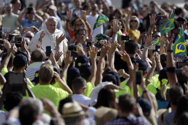 Pope Francis arrives for his weekly general audience, at the Vatican, Wednesday, Aug. 29, 2018. (AP Photo/Andrew Medichini)