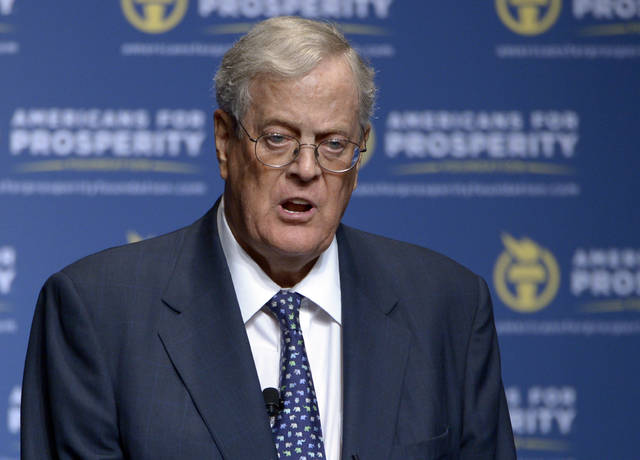 "David Koch speaks in 2013 in Orlando, Fla. The political network created by the billionaire Koch brothers plans to support eight House Republicans, including Ohioan Steve Chabot. The sprawling conservative organization on Thursday pledged its financial resources and army of activists to help re-elect several vulnerable congressmen deemed ""principled"" conservatives."