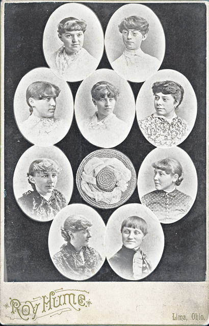 This photo from 1883 shows the Nine Pins. Top left, clockwise: Belle Hughe, Mary Boone, Minnie Reichelderfer, Margaret Rumple, Mabel Thrift, Libbie Dalzell, Florence Hughes, Kate Melhorn and Belle Hughes. Emma Williams is in the middle, above the hat.