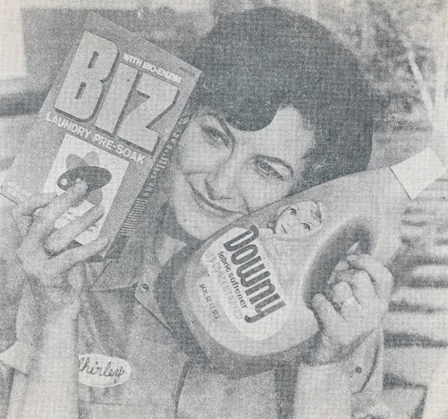 Shirley Joseph, a technicial at the Procter & Gamble Lima plant in 1971, hugs the products processed and packaged there.