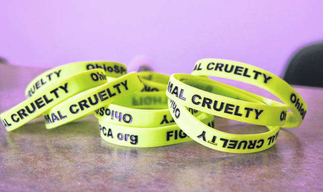 Animal Cruelty wristbands are displayed at the Ohio SPCA Humane Society Shelter in Lima.