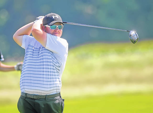 Spencerville's Ethan Harmon hits a tee shot on the 18th hole during Thursday's Rob Contini Memorial Invitational at Colonial Golfers Club in Harrod. Head to LimaScores.com to see more invitational photos.