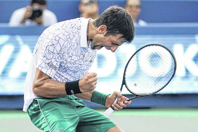 Novak Djokovic reacts after defeating Roger Federer in the men's singles finals at the Western & Southern Open tennis tournament on Sunday in Mason.