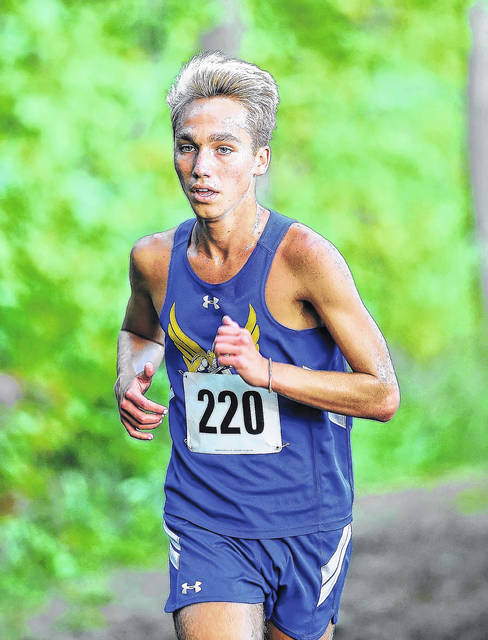 Lincolnview's Karter Tow won the 2017 NWC title in a time of 16 minutes, 44 seconds on the 5,000-meter course at the Van Wert Reservoirs.