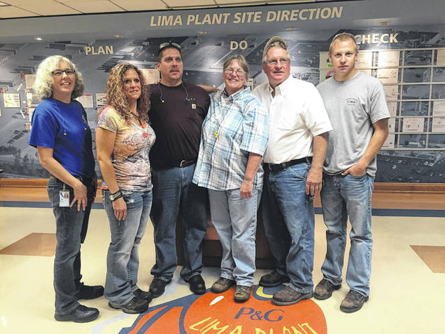 The Hall family includes three generations of employees at the Procter & Gamble Lima plant. From left are Elaine Swope, Kenny Hall, Jessie Hall, Gary Hall and Blake Hall.