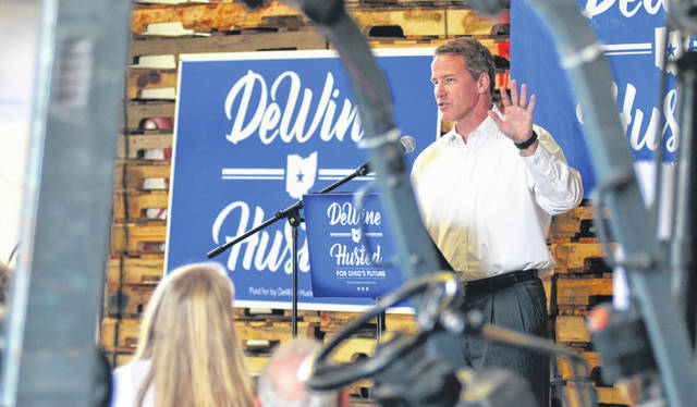 Secretary of State Jon Husted outlines his Ohio Prosperity Plan during a visit to the Lima Pallet Company Monday afternoon. Husted is running as the Republican candidate for lieutenant governor alongside Mike DeWine.