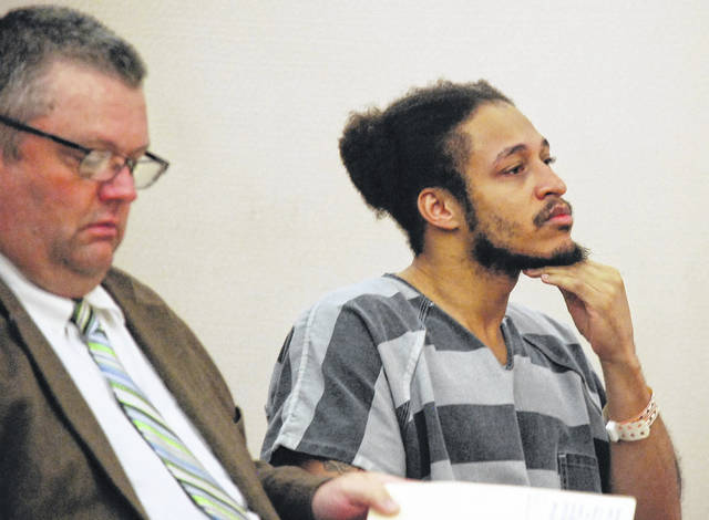 Justin Shears, 33, of Lima, appeared in Allen County Common Pleas Court on Monday to formally request that his court-appointed attorney, John Hopkins, left, be replaced. Shears faces nearly three decades behind bars on charges of aggravated robbery with a firearm specification, felonious assault with a firearm specification and having a weapon under disability.