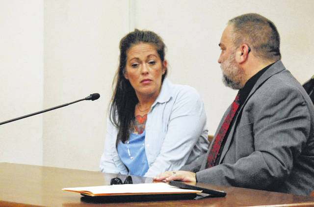 Kristin McDaniel, of Criderville, entered pleas of not guilty Wednesday to charges of tampering with evidence and obstruction of justice during her arraignment hearing in Allen County Common Pleas Court.