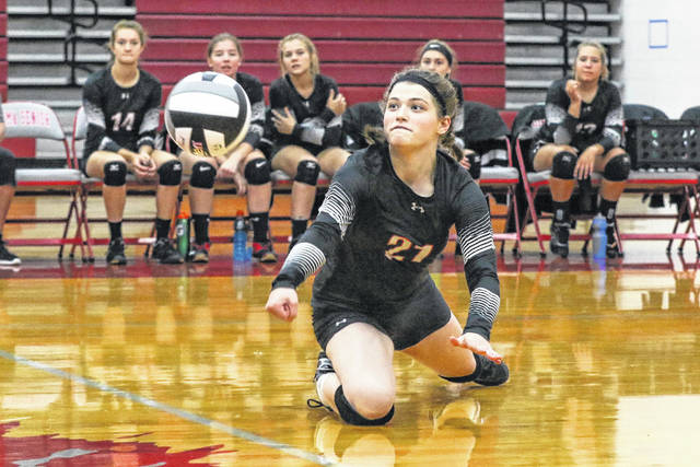 Spencerville's Emma Hoback makes a save during Tuesday night;s match at Lima Senior.