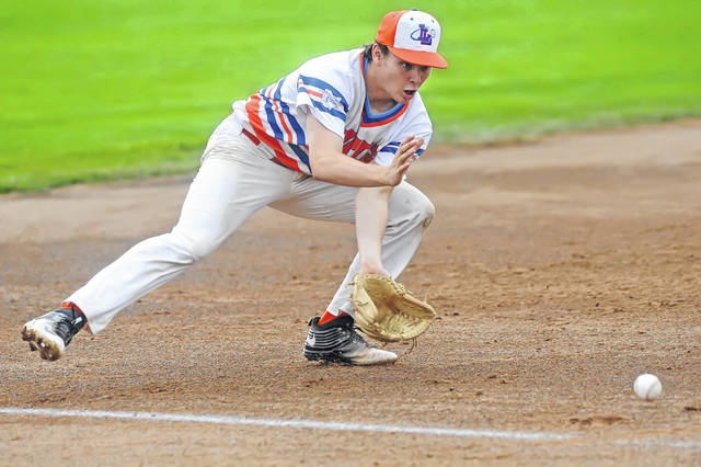 Lima Locos Braden Doughty fields a grounder during Wednesday night's playoff game against Saginaw at Simmons Field. See more game photos at LimaScores.com.