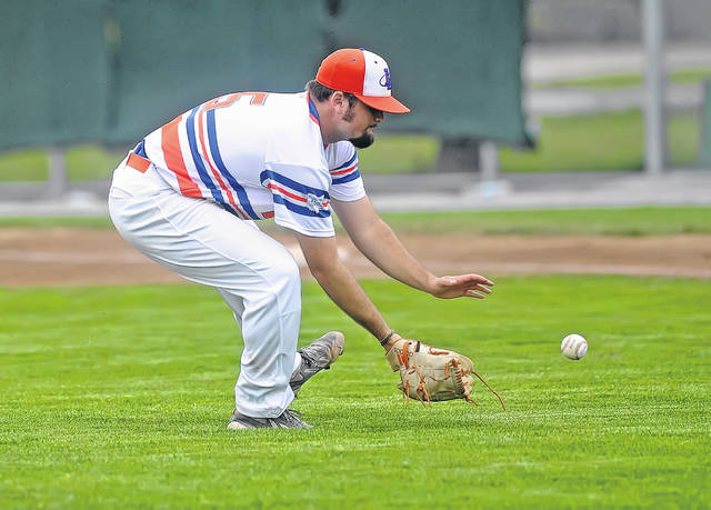 The Lima Locos' Tanner Hall fields a during Wednesday night's playoff game against Saginaw at Simmons Field.