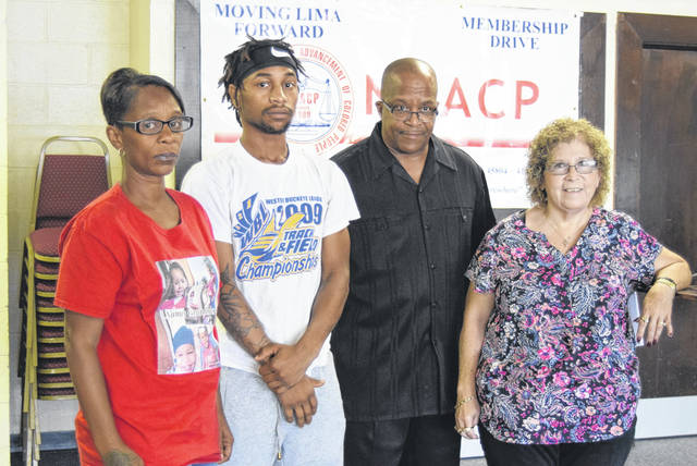 The Lima NAACP held a news conference Saturday to detail two cases of alleged police abuse they are investigating. From left: Darice Pryor, Dontez Pryor, Lima NAACP President Ronald Fails and Deborah Odom.