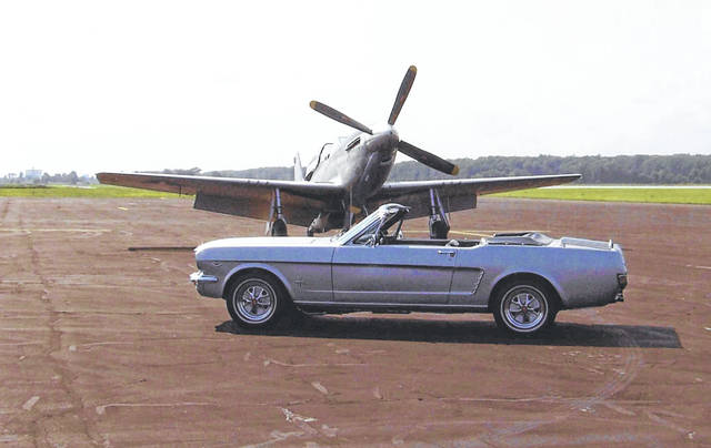 Ben Dirksen, of Lima, took his 1964 1/2 Ford Mustang to the Allen County Airport during the Wings of Freedom Tour. He photographed his Mustang beside the plane that the Mustang was named after, the P-51 Mustang fighter plane.