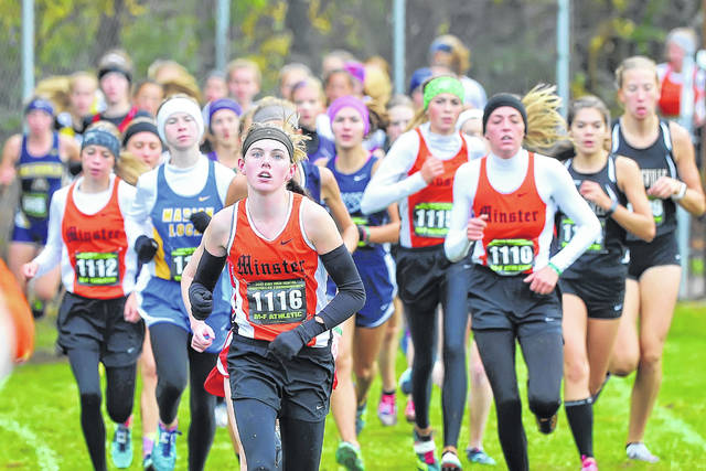 Minster's Emma Watcke (1116) is back to defend her 2017 Division III state championship.