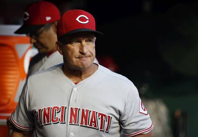 Cincinnati Reds interim manager Jim Riggleman appears to not like what he's seeing during a 10-4 loss to the Washington Nationals on Thursday in Washington, D.C.