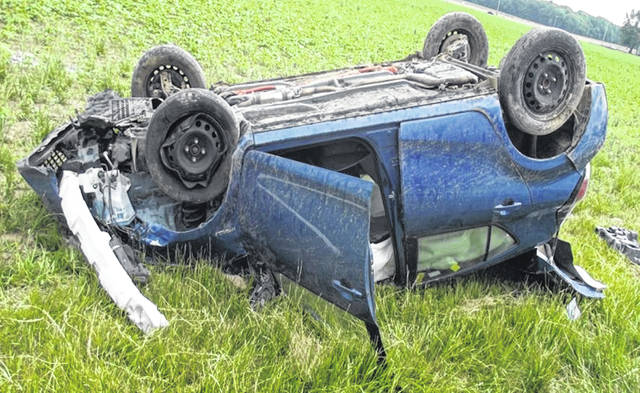 Kristie Hayhurst's vehicle is pictured shortly after the June 8 crash on state Route 66 near Spencerville.