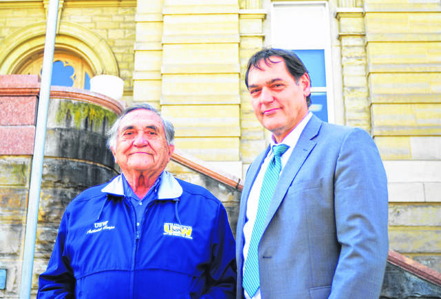 Ohio Auditor Candidate Zack Space (right) and his father, Socrates (left), stand in front of the Allen County Courthouse during a previous campaign stop in Lima.