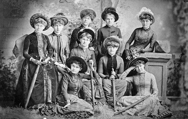 The group that called themselves the Trundle Beds was but one of many organizations of young prominent women in Lima. Standing: Hattie Ashton, Hattie Watt and Stella Moore. Seated on chairs: Laura Williams, Clara Hughes, Dora Metzger and Cora Holland. Seated on floor: Ethel Cunningham and May Kibby.