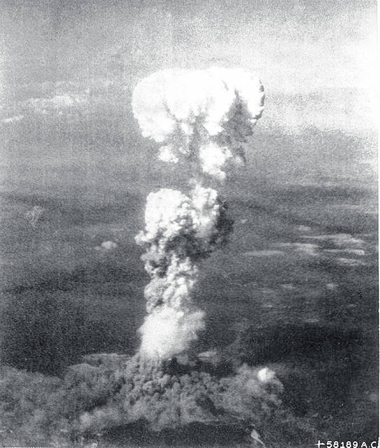 President Truman agonized over whether or not to use the recently developed atomic bomb to force Japan to surrender. After only four months in office, Truman authorized the dropping of two atomic bombs on Japan in August 1945. The atomic cloud over Hiroshima is shown above.