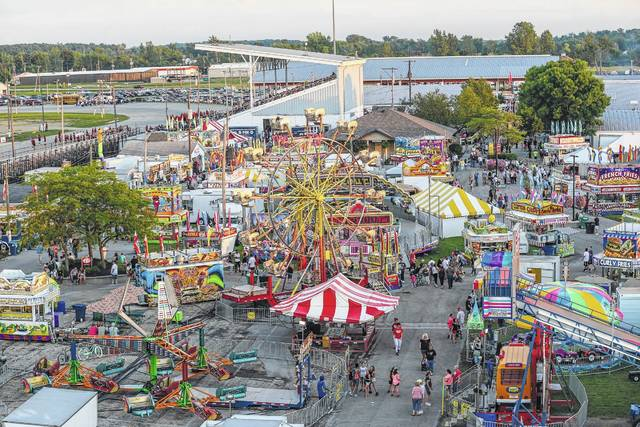 A view from the Ferris wheel at last year's Allen County Fair on Friday evening.