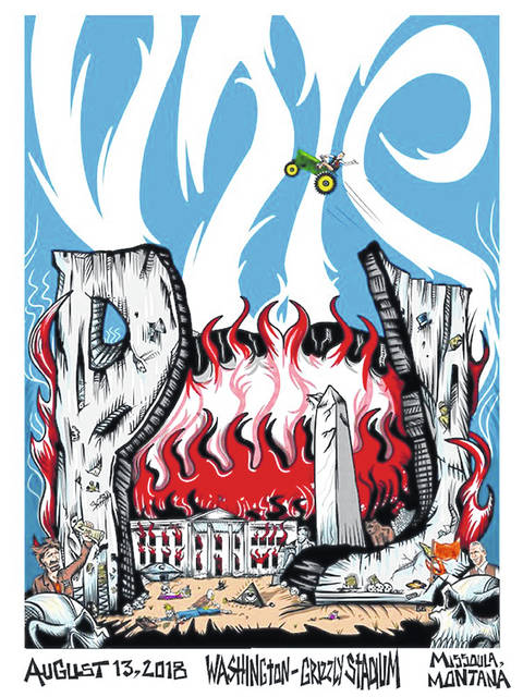 This image taken from the Twitter account of Pearl Jam shows the official poster from the band's concert on Monday, in Missoula, Mont. Republicans condemned the poster that shows the White House in flames and a bald eagle pecking at a skeleton they say is meant to depict President Donald Trump. (Twitter via AP)