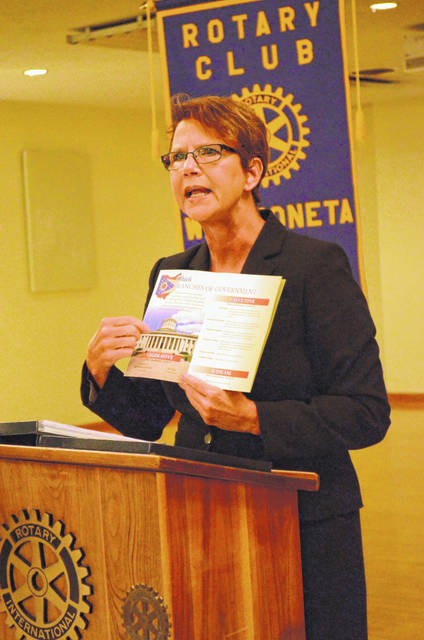 Ohio Supreme Court Justice Sharon L. Kennedy spoke to members of the Wapakoneta Rotary Club Monday.