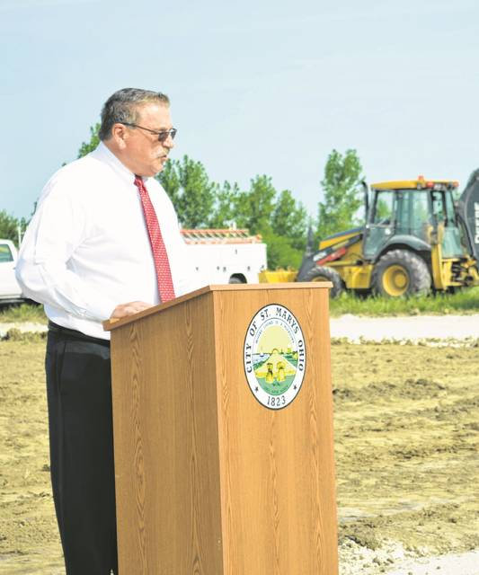 Patrick McGowan, St. Marys mayor, spoke during the ground breaking ceremony for the city's new water treatment plant Friday. He said the $20 million project will provide clean drinking water not just for the current residents of St. Marys but for future generations as well.