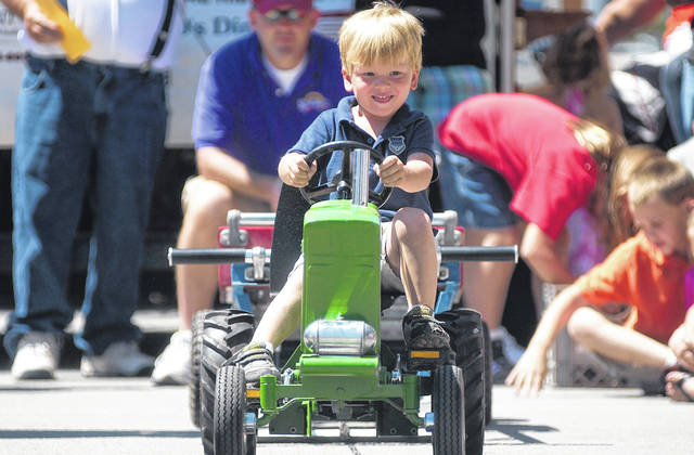 Connor Meckstroth, of Wapakoneta, competes in a tractor pull at a previous St. Marys Summerfest in St. Marys.