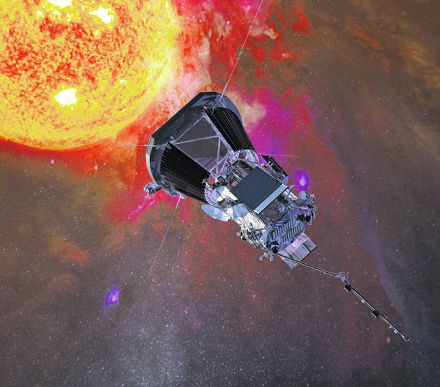 An illustration of the Parker Solar Probe spacecraft approaching the sun. (Johns Hopkins University Applied Physics Laboratory/NASA)