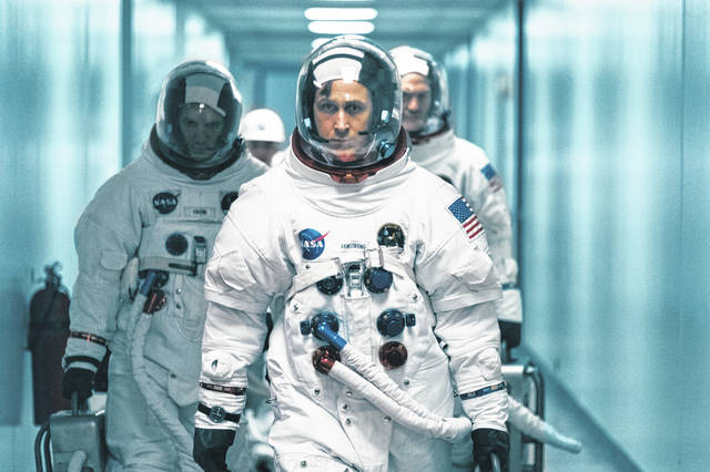 "This image released by Universal Pictures shows Ryan Gosling as Wapakoneta native Neil Armstong in a scene from ""First Man."""
