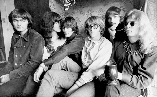 FILE - This Dec. 5, 1968 file photo shows the rock band Jefferson Airplane, Marty Balin, from left, Grace Slick, Spencer Dryden, Paul Kantner, Jorma Kaukonen and Jack Casady, as they pose in their Pacific Heights, San Francisco apartment. Singer Balin of the Jefferson Airplane has died at age 76. Spokesman Ryan Romenesko said Balin died Thursday, Sept. 27, 2018, in Tampa, Fla., where he was on the way to the hospital. The cause of death was not immediately available. (AP Photo, File)