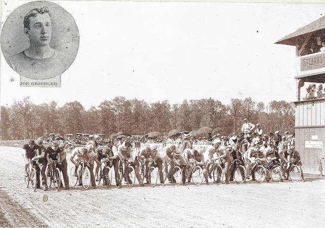 In 1896, professional bike racer Joe Griebler was joined by several other pros for the National Circuit Races at the fairgrounds track. The event included track races for professionals and amateurs as well as a 20-mile road race for amateurs sponsored by local merchant and cycling enthusiast F.A. Harman.