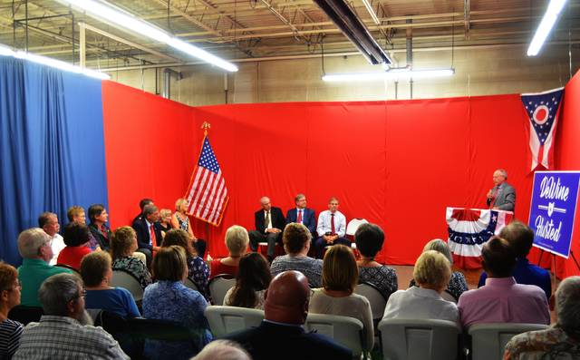 A crowd visits the grand opening of the Allen County Victory Center, the campaign headquarters for the Allen County Republican Party, to listen to State Rep. Bob Cupp, State Sen. Matt Huffman and U.S. Rep. Jim Jordan speak on the upcoming 2018 elections.