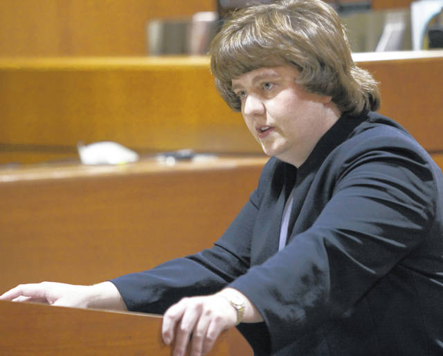 In this Oct. 27, 2004, photo Rachel Mitchell makes an opening statement in the trial of Karl LeClaire at court in Mesa, Ariz. Senate Republicans are bringing Mitchell to handle questioning about allegations of sexual assault against Supreme Court nominee Brett Kavanaugh at Thursday, Sept. 27, 2018, Senate Judiciary Committee hearing.