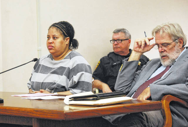Marchion Williams, 40, will be sentenced Oct. 15 after pleading guilty Wednesday to murder in the stabbing death earlier this year of Lima resident Eddie McClellan. Williams is pictured with her attorney, William Kluge, during Wednesday's hearing in Allen County Common Pleas Court.