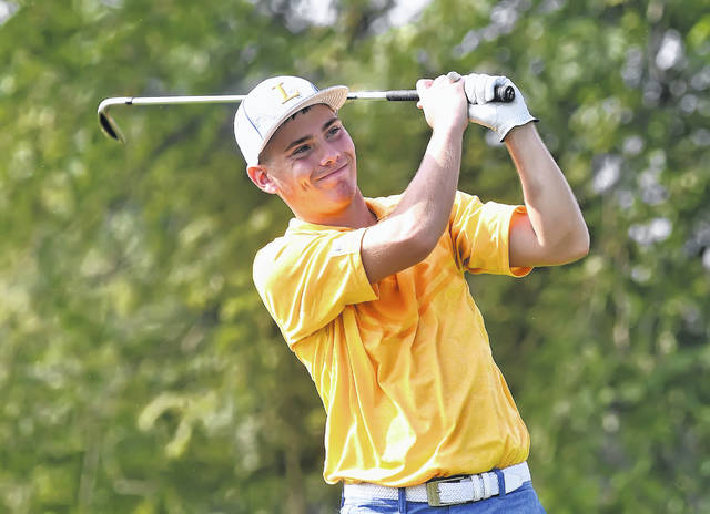 Lincolnview's Ryan Moody watches his tee shot on the 10th hole during Thursday's Northwest Conference Tournament at Auglaize Golf Club in Defiance.
