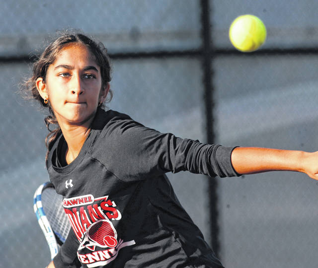 Shawnee's Arial Patel focuses as she gets ready to hit a return during Saturday's Western Buckeye League girls tennis tournament at UNOH. Patel won the first singles title. Jose Nogueras | The Lima News